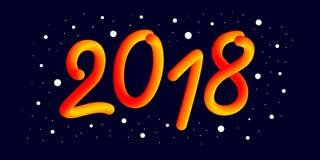 2018 anos novo feliz 3d o número do inclinação 2018 e refrigera a onda ilustração royalty free