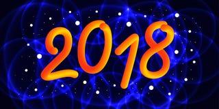 2018 anos novo feliz 3d o número do inclinação 2018 e refrigera a onda ilustração do vetor