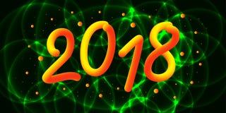 2018 anos novo feliz 3d o número do inclinação 2018 e refrigera a onda com partículas ilustração stock