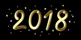 2018 anos novo feliz 3d o número do inclinação 2018 e refrigera a onda com partículas e flocos de neve Elemento festivo para o fe Fotografia de Stock
