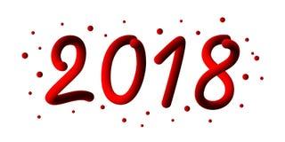 2018 anos novo feliz 3d o número do inclinação 2018 e refrigera a onda com partículas e flocos de neve Elemento festivo para o fe Foto de Stock Royalty Free