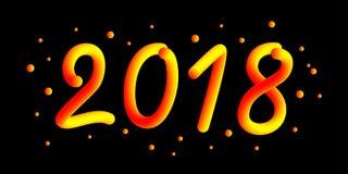 2018 anos novo feliz 3d o número do inclinação 2018 e refrigera a onda com partículas e flocos de neve Elemento festivo para o fe Imagens de Stock