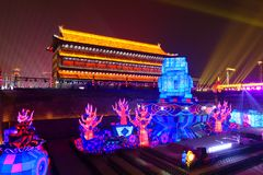 2019 anos novos chineses em Xian fotos de stock royalty free