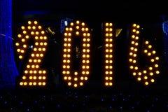 2016 anos novos com fundo borrado do bokeh Imagem de Stock Royalty Free