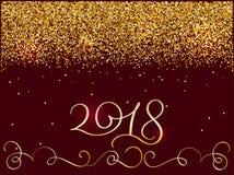 2018 anos novos Composição brilhante da rotulação com estrelas e Sparkles Ilustração tirada mão do vetor da caligrafia do feriado ilustração stock