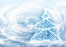 Anos novos da árvore e o blizzard Fotos de Stock Royalty Free