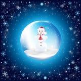 Anos novos da bola com boneco de neve ilustração do vetor