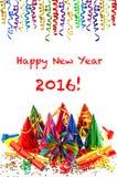2016 anos novos da decoração do partido Confetty e festões Fotos de Stock Royalty Free