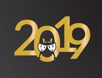 2019 anos novos de bandeira, números e vidros de vinho dos desenhos animados ilustração do vetor