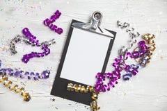 Anos novos de Eve Background com cartão branco Imagens de Stock Royalty Free