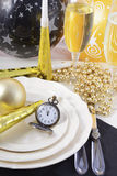 Anos novos de Eve Dinner Table Place Setting Fotografia de Stock Royalty Free