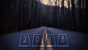 2018 anos novos de Eve Numbers Street Photography ou tipografia nas madeiras Fotos de Stock Royalty Free