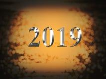 2019 anos novos de prata luxuoso no fundo do bokeh do ouro Ano novo feliz 2019 fotos de stock
