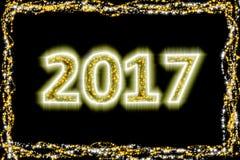 2017 anos novos do ouro do brilho ilustração do vetor