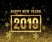 Anos novos do OURO 2019 no fundo preto Fotos de Stock