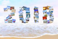 2018 anos novos Dois mil dezoito feriados Os números são feitos de paisagens mediterrâneas Ressaca do mar Backgro mágico do borrã Fotos de Stock
