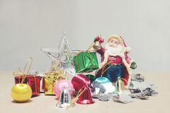 Anos novos e caixa de presente e Santa Claus do Natal do deco do Natal Foto de Stock