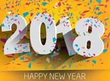 2018 anos novos feliz com confetes de queda Illustr de papel do vetor Imagem de Stock Royalty Free