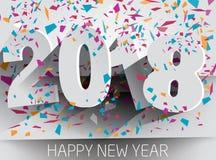 2018 anos novos feliz com confetes de queda Illustr de papel do vetor Fotografia de Stock Royalty Free