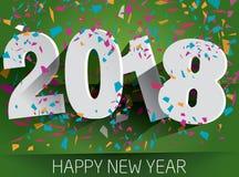 2018 anos novos feliz com confetes de queda Illustr de papel do vetor Fotografia de Stock
