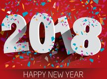 2018 anos novos feliz com confetes de queda Illustr de papel do vetor ilustração do vetor