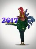 2017 anos novos feliz! Galo Imagens de Stock