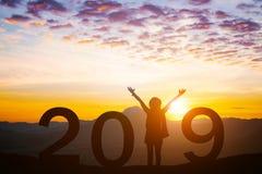 2019 anos novos feliz para a menina da silhueta Fotos de Stock