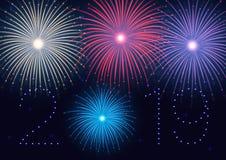 2019 anos novos felizes! Ano novo feliz, fundo com fogos de artifício coloridos e sparkles ilustração do vetor