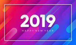 2019 anos novos felizes com fundo dinâmico do vetor da cor fundo do vetor 3D ilustração stock