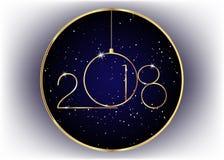 2018 anos novos felizes com textura do ouro, estilo moderno, ilustração royalty free