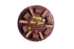 Anos novos felizes de bolo de chocolate Fotografia de Stock