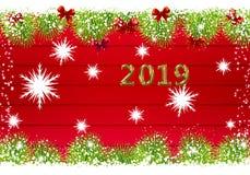 2019 anos novos felizes de vermelho ilustração stock