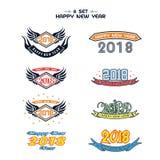2018 anos novos felizes Divertimento 2018 Ilustração do vetor bandeira poster ilustração do vetor