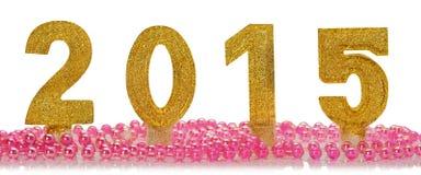 2015 anos novos felizes dourado no fundo branco Imagens de Stock Royalty Free