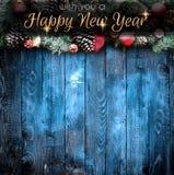 2018 anos novos felizes e quadro do Feliz Natal com neve e rea Imagens de Stock Royalty Free