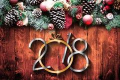 2018 anos novos felizes e quadro do Feliz Natal com neve e rea Imagem de Stock