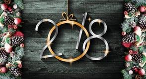 2018 anos novos felizes e quadro do Feliz Natal com neve e rea Fotos de Stock