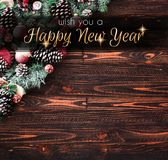 2018 anos novos felizes e quadro do Feliz Natal com neve e rea Fotografia de Stock Royalty Free