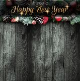 2018 anos novos felizes e quadro do Feliz Natal com neve e rea Imagens de Stock