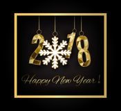 2018 anos novos felizes Feliz Natal felicite ilustração do vetor