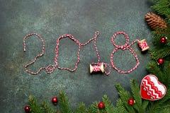 2018 anos novos felizes, fundo festivo Vista superior Imagem de Stock Royalty Free