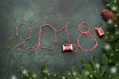 2018 anos novos felizes, fundo festivo Vista superior Foto de Stock Royalty Free