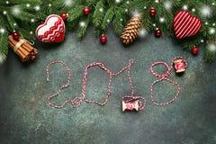 2018 anos novos felizes, fundo festivo Vista superior Fotografia de Stock Royalty Free