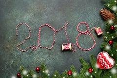 2018 anos novos felizes, fundo festivo Vista superior Foto de Stock