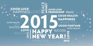 2015 anos novos felizes, multilingue Fotografia de Stock