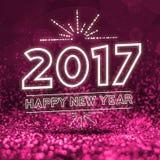 2017 anos novos felizes no backgro cor-de-rosa abstrato da perspectiva do brilho Fotos de Stock