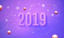 2019 anos novos felizes no fundo roxo, cor-de-rosa do vetor com brilho da estrela pequena ilustração royalty free