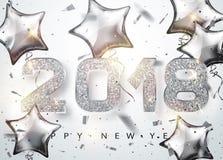 2018 anos novos felizes Os números de prata projetam com os balões dados forma estrela do cartão Fotos de Stock Royalty Free