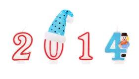 Anos novos felizes 2014 por candkes. Imagens de Stock