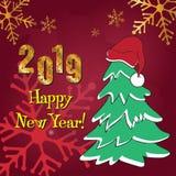 2019 anos novos felizes Teste padrão de brilho do ouro Bandeira do ano novo feliz com 2019 números no fundo vermelho ilustração do vetor